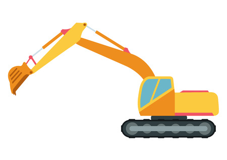 technics: Building under construction excavator technics vector illustration. Building excavator truck vector. Under construction vector concept. Excavator vector machine isolated