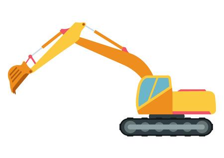 Building under construction excavator technics vector illustration. Building excavator truck vector. Under construction vector concept. Excavator vector machine isolated