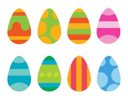 huevos de pascua: huevos de Pascua de vectores iconos de estilo plano. Huevos de Pascua aislados del vector. Huevos de Pascua para el diseño de Pascua hokidays. Huevos de Pascua iconos de estilo moderno plana. Huevos de Pascua aislados sobre fondo blanco