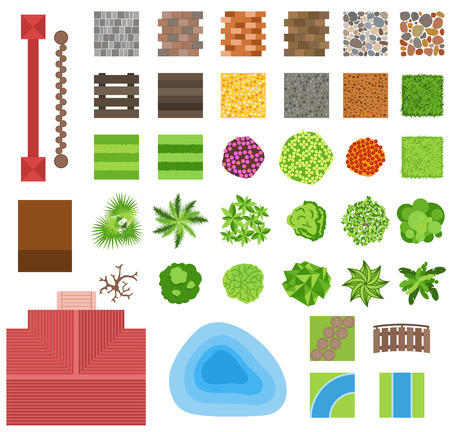 Landscaping garden design elements. Landscaping plants, landscaping trees vector icons isolated. Landscaping plan vector elements icons. Landscape garden design constructor. Landscaping design Illustration