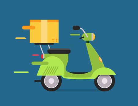 Delivery vector transport moto bike motorcycle box pack. Delivery service, delivery bike, delivery motorcycle. Delivery box silhouette. Product goods shipping transport. Fast delivery motocycle Vector Illustration