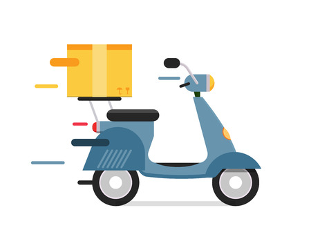 motocycle: Delivery vector transport moto bike motorcycle box pack. Delivery service, delivery bike, delivery motorcycle. Delivery box silhouette. Product goods shipping transport. Fast delivery motocycle