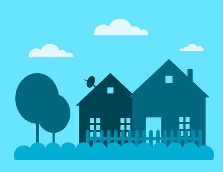 家族の家は、ベクトル図を構築します。住宅建設の背景に分離されたシルエット。コテージ ホームの家を建てる。家ベクトル、住宅建設のコテージ