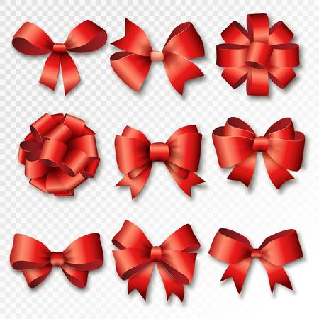 moños navideños: Las cintas rojas establecidos para los regalos. regalo rojo arquea con las cintas ilustración vectorial. cintas de regalo de color rojo y arcos para celebrar el Año Nuevo. Cintas de la Navidad, regalos de cumpleaños. cintas de cumpleaños, regalos de cumpleaños