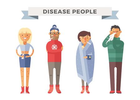 Mensen ziek vector illustratie. Seizoensgebonden virusaanval. Mensen ziekte, mensen ziek. Mensen koud illustratie. Mensen onwel medische hulp nodig hebben. Virus, gezondheid, koorts mensen silhouet. Mensen onwel