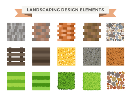 walkway: Landscaping garden design elements. Landscaping plants, landscaping trees vector icons isolated. Landscaping plan vector elements icons. Landscape garden design constructor. Landscaping design Illustration