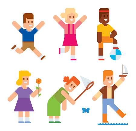 children play: Spring or summer kids playing outdoor. Nature, holidays children. Kids play vector icons. Children playing. Spring, summer, love, childhood and friends Illustration