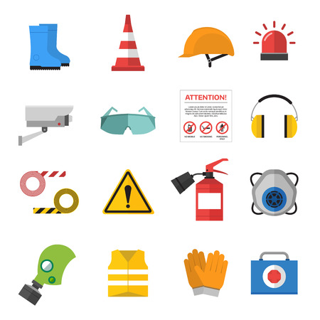 Safety work icons flat style. Safety icons vector illustration. Safeti icons isolated on white background. Safety work icons. Safety symbols elements collection. Safety at work Çizim