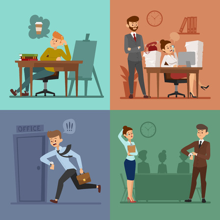 Business work time lag vector illusutration. Procrastination concept. People delay, time late business situations cartoon vector. Time delay, time lag, bad workers. Office people stress situation