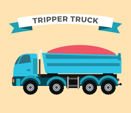 technics: Building under construction tripper truck machine technics vector illustration. Building tripper truck machine. Tripper truck concept. Tripper truck  vector isolated Illustration