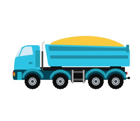 technics: Building under construction tripper truck machine technics vector illustration. Building tripper truck machine. Tripper truck concept. Tripper truck  vector isolated Illustration
