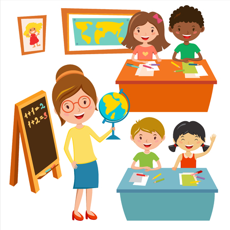 Kids school geography lessons illustration. Geographic teacher and kids in classroom. Children sitting on desk. Kids school vector. Boys, girls vector cartoon. Pre-school illustration. School kids Çizim