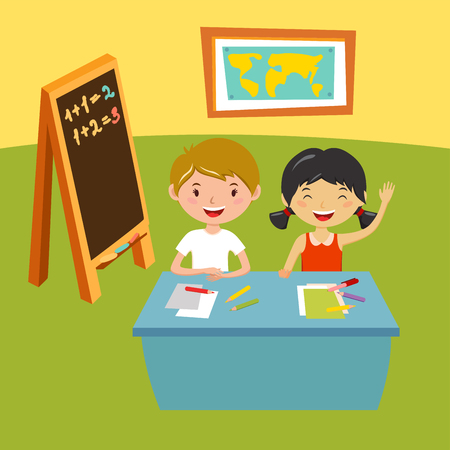school class: Kids school geography lessons illustration. Geographic globe and kids in classroom. Children sitting on desk. Kids school vector. Boys, girls vector cartoon. Pre-school illustration. School kids vector Illustration