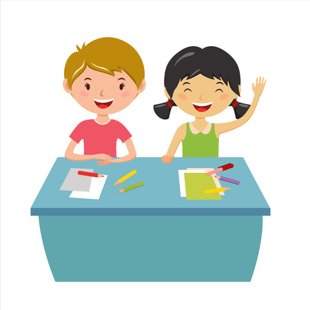 Kids School aardrijkskunde lessen illustratie. Geographic globe en kinderen in de klas. Kinderen zitten op het bureau. Kids School vector. Jongens, meisjes vector cartoon. Pre-school illustratie. Schoolkinderen vector Stock Illustratie