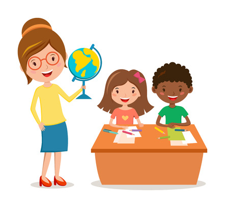 Kids school geography lessons illustration. Geographic teacher and kids in classroom. Children sitting on desk. Kids school vector. Boys, girls vector cartoon. Pre-school illustration. School kids Illusztráció
