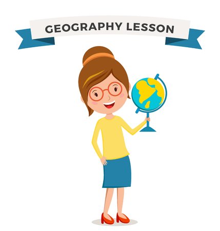 teachers: School geography lessons woman teacher illustration. Geographic teacher school. Teacher holding globe symbol. School teacher vector. Pre-school illustration. School teacher Illustration