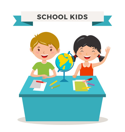 young schoolchild: Kids school geography lessons illustration. Geographic globe and kids in classroom. Children sitting on desk. Kids school vector. Boys, girls vector cartoon. Pre-school illustration. School kids vector Illustration