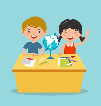 Kids school geography lessons illustration. Geographic globe and kids in classroom. Children sitting on desk. Kids school vector. Boys, girls vector cartoon. Pre-school illustration. School kids vector Vettoriali