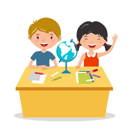 geographic: Kids school geography lessons illustration. Geographic globe and kids in classroom. Children sitting on desk. Kids school vector. Boys, girls vector cartoon. Pre-school illustration. School kids vector Illustration