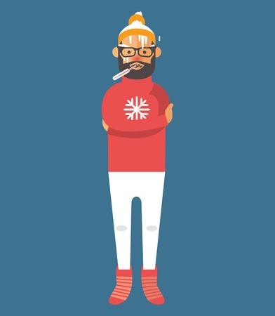 frio: Hombre ilustraci�n enfermedad vectorial. Ataque de virus estacional. Enfermedad del hombre, muchacho enfermo. Ilustraci�n del hombre fr�o. Gente malestar necesitan ayuda m�dica. Personas Virus, salud, fiebre. La gente encuentra mal. Personas Enfermedad Vectores