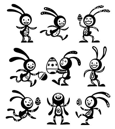 on ear: tarjeta de felicitaci�n ilustraci�n vectorial Conejo de Pascua. conejito divertido conejo de Pascua. tarjeta de felicitaci�n de Pascua del conejito. Pascua iconos de vector. iconos de estilo plana Conejo de Pascua de dibujos animados. Conejo de Pascua plana conejito del vector