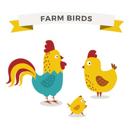 귀여운 만화 닭 어머니와 chuk 아이 벡터 일러스트 레이 션. 만화 닭 조류 배경에 고립입니다. 치킨 가족 조류입니다. 벡터 닭 농장 동물. 귀여운 닭 벡터