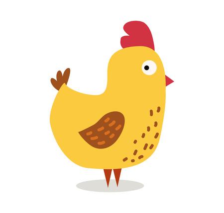 pollo: ilustración vectorial de dibujos animados lindo del pollo. pollo pájaro de dibujos animados aislado en el fondo. Pollo, aves, aves de granja. Vector de animales granja de pollos. Ejemplo lindo del vector de pollo. aislado vector de pollo de animales de granja