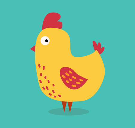 illustration background: Cute cartoon chicken vector illustration. Cartoon chicken bird isolated on background. Chicken, bird, farm bird. Vector chicken farm animal. Cute chicken vector illustration. Chicken farm animal vector isolated