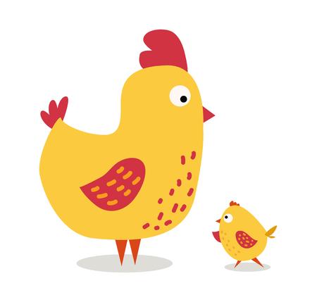 かわいい漫画鶏母と chuk ベクトル図を子供します。漫画の背景に分離された鶏鳥。チキン家族鳥。ベクトル鶏農場の動物。かわいい鶏のベクトル図