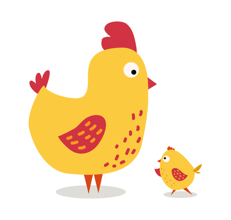 chicken coop: Cute cartoon chicken mother and chuk kid vector illustration. Cartoon chicken bird isolated on background. Chicken family birds. Vector chicken farm animal. Cute chicken vector illustration