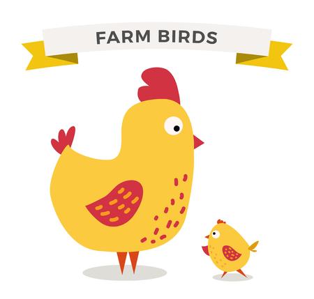 chicken family: Cute cartoon chicken mother and chuk kid vector illustration. Cartoon chicken bird isolated on background. Chicken family birds. Vector chicken farm animal. Cute chicken vector illustration