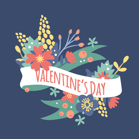 love card: Vintage Valentine Day decoration flowers. Nature flowers wreath flowers, foliage ribbons. Greeting holidays card vector template. Flowers vector, wreath vector silhouette. Wedding, love,summer, flower