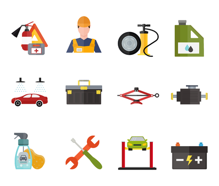 automobile workshop: Car service repair vecror icons set. Car repair vector sign illustration. Car service vector icons isolated on white background. Modern flat style car service icons. Vector silhouette of car service