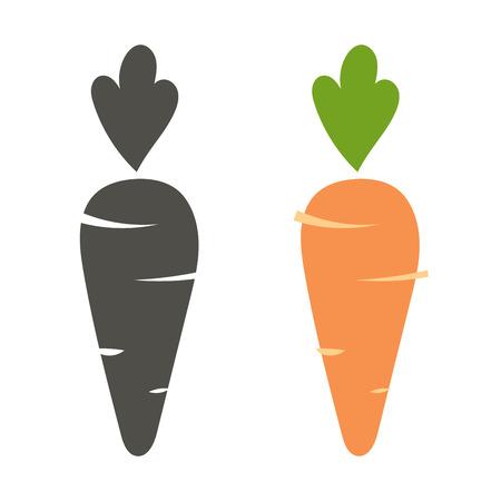 Carrot vector icon cartoon stijl op een witte achtergrond. Carrot vector illustratie. Wortel geïsoleerd zwart en kleur iconen vector silhouet. Wortel, plantaardig, voedsel, vector vlakke stijl