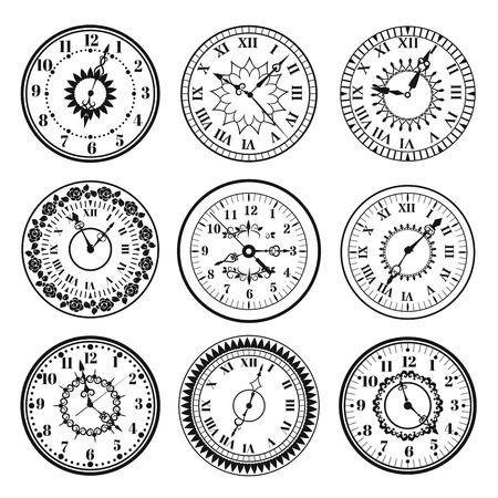 Clock watch alarms black vector icons illustration. Clock face icons isolated on white background. Clocks, watch silhouette. Old, retro, modern and fashion clocks. Time tools icons, alarm, watch icons isolated Çizim