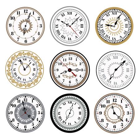 Clock Uhr Alarme Vektor-Icons Illustration. Zifferblatt-Symbole auf weißem Hintergrund. Uhren, Uhren Silhouette. Alt, retro, modern und Mode Uhren. Zeit-Tools Icons, Alarm, Uhr Icons isoliert