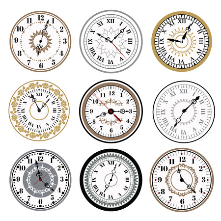Clock watch alarms vector icons illustration. Clock face icons isolated on white background. Clocks, watch silhouette. Old, retro, modern and fashion clocks. Time tools icons, alarm, watch icons isolated