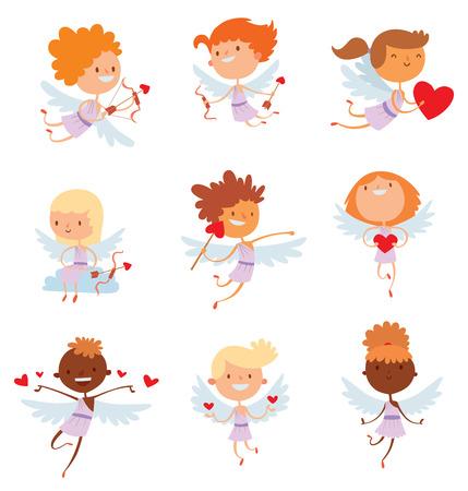 naked child: Valentine Day cupid angel cartoon style vector illustration. Amur cupid kid playing. Cupid cartoon kids vector illustration, Cute playfull cupid angel Valentine Day greeting card vector Illustration