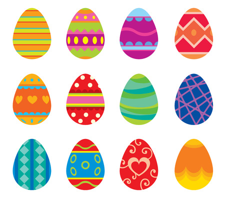 イースターエッグのベクトルの白い背景に分離されたフラット スタイル アイコン。イースター卵アイコンをベクトルします。イースターの卵分離、  イラスト・ベクター素材