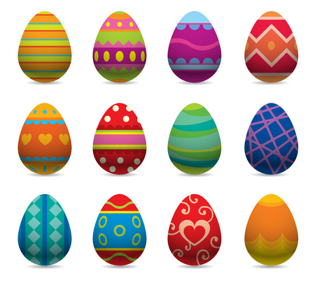 huevos de pascua: huevos de Pascua de vectores iconos syle plana aislados sobre fondo blanco. Pascua huevos iconos del vector. Huevos de Pascua aislados, Semana Santa signo dise�o plano. Pascua, huevos, vacaciones saludo. huevos de pascua conjunto de vectores