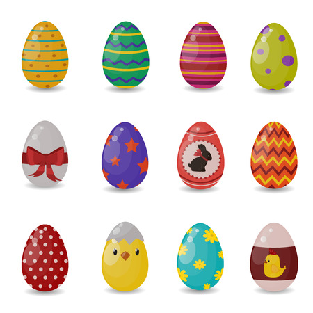 easter sign: Easter eggs vector flat syle icons isolated on white background. Easter eggs icons vector. Easter eggs isolated, Easter holidays flat design sign. Easter, eggs, holidays greeting. Vector easter eggs set