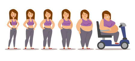 big girls: Fat woman cartoon style different stages vector illustration. Fat problems. Health problems. Fast food, strong sport and fat people. Obesity process people illustration