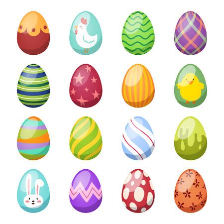 huevo: huevos de Pascua de vectores iconos syle plana aislados sobre fondo blanco. Pascua huevos iconos del vector. Huevos de Pascua aislados, Semana Santa signo diseño plano. Pascua, huevos, vacaciones saludo. huevos de pascua conjunto de vectores