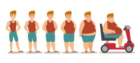 Le fasi differenti di stile del fumetto dell'uomo grasso vector l'illustrazione. Problemi di grasso. Problemi di salute. Fast food, sport forte e persone grasse. Illustrazione di persone processo di obesità Vettoriali