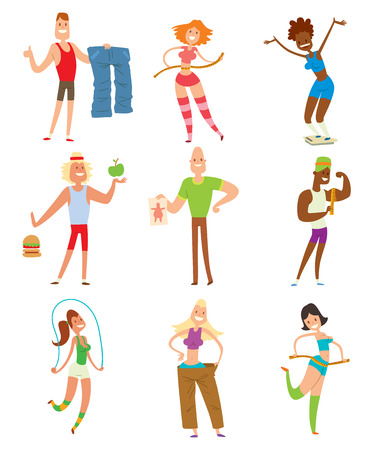 weight loss success: Beauty fitness people weight loss vector cartoon illustration. Weight loss, weight loop concept. Thin people diet, gym, measure. Losing weight, good figure, strong body. Weight lose vector people