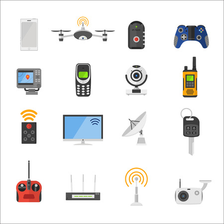 multimedia: Smart house remote control electronic gadgets vector icons. Technology radio signal electronics multimedia devices. Everyday technology objects. Remote control gadgets. Radio control vector icons collection