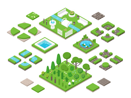 garden fountain: Landscaping isometric 3d garden design elements. Landscaping plants, landscaping trees vector icons isolated. Landscaping plan vector elements icons. Landscape garden design constructor. Landscaping design