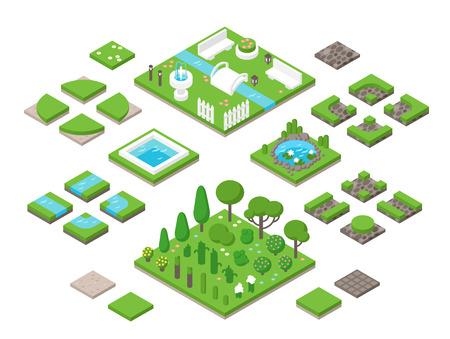 Landscaping isometrische 3D tuin design elementen. Landscaping planten, landschapsarchitectuur bomen vector iconen. Landschapsplan vector elementen pictogrammen. Landschap tuin ontwerp constructeur. landschap ontwerp Stock Illustratie
