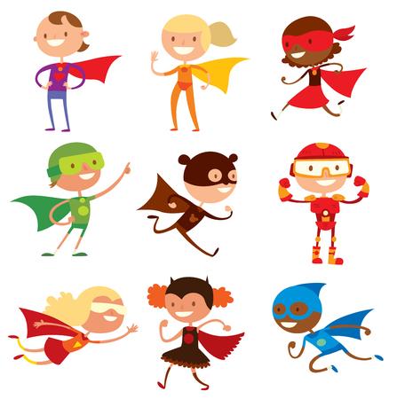 Superhero kids boys and girls cartoon vector illustration. Super children illustration. Super hero kids playing, fly, Super kids in action. Superkids flying, success people concept  イラスト・ベクター素材