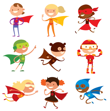 Superhero kids boys and girls cartoon vector illustration. Super children illustration. Super hero kids playing, fly, Super kids in action. Superkids flying, success people concept Çizim